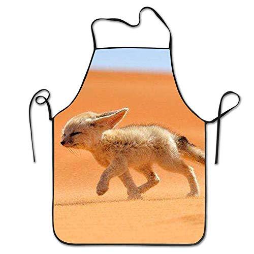 JIILWKIE Aprons for Women Men DerlonKaje Delaware Mascot Gray Fox Baby