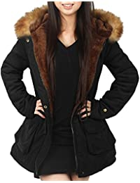 4How Womens Hooded Warm Coats Parkas with Faux Fur Jackets