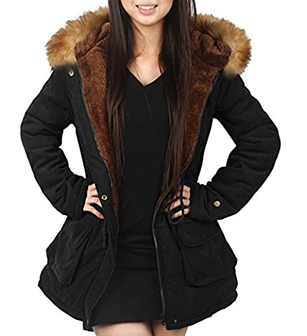 4How® Manteau femme coupe du vent capuche fausse fourrure Noir, Taille FR38