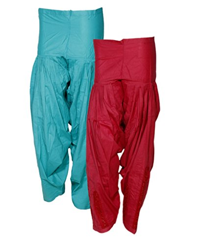 IndiWeaves Women's Premium Cotton 1 Full Patiala Salwar Dabang Jalidar (Pack of 2 Salwar)