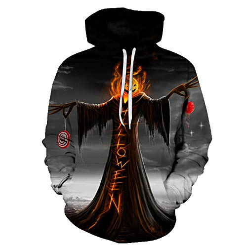 GEFANENR Unisex 3D Druck Hoodie,Halloween Pumpkin Head Scarecrow Männer Frauen Liebhaber Hoodie Pullover Sweatshirt Jacke Pullover Shirt Neuheit Hoodie (Einfach Scarecrow Kostüm)