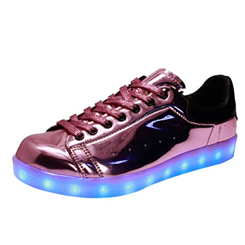 MatchLife Unisex USB Rechargeable LED Chaussure Lumineuse Clignotant Sport Basket Montante Et Basse Sneaker Style3-Rose