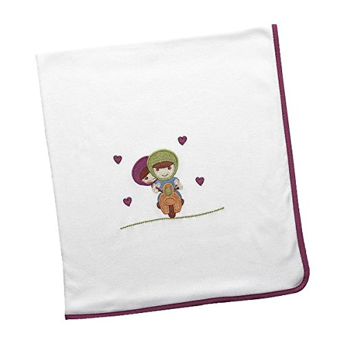Arrullo para bebé punto de algodón (80x80 cm) MOTO LOVE Morado