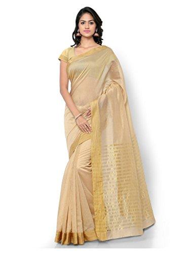Inddus Women Beige Polyester Cotton & Art Silk Banarasi Woven Saree