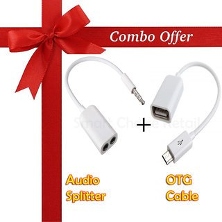 2 in 1 Mobile Accessories Combo Pack of OTG cable + Audio Splitter