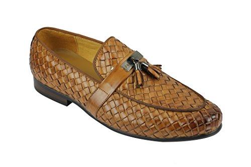 Xposed Herren Schwarz Braun Hand Woven Echtem Leder Mod Metall Teller Quaste Trim Loafer Slip auf Schuhe, Braun - Hautfarben - Größe: 41 EU Mod Trim
