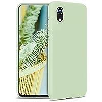 Ttimao Compatible con Funda iPhone XR Silicona Líquida Gel Cubierta+1*Protector de Pantalla Anti-Shock Funda Protectora con Cojín de Forro de Tela de Microfibra Suave-Verde