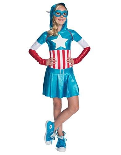 Kinder Kostüm Captain America, Kapuzenjacke American Dream Girl Kleid, Outfit, Medium, Alter 5-7, Höhe 4'5.08 cm - 4'15.24 - Girl-outfit America Captain