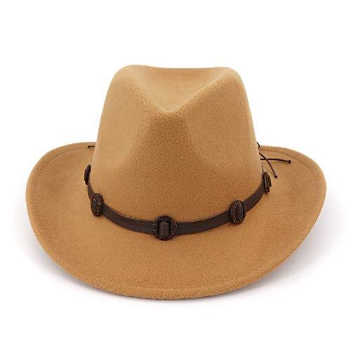 (MXNET Fedora Trilby Homburg Wolle, Baumwolle, Polyester, für Paare, Jazz Hut, Westernhut, Cowboy-Hut, Krawattenschnalle für Damen, Wolle, 1, 56-58cm/22-23in)