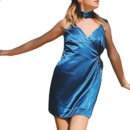LILIHOT Reizvolle Farbe der Art- und Weisefrauen V-Ansatz Verband Unterhemd Unregelmäßiges Kleid Damen Abendkleid Knielang Elegant Festlich Asymmetrisches Partykleid -
