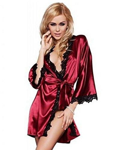 CRAVOG Femme Sexy Lingerie Nuisette Satin Sous-vetement Ensemble Chemise de Nuit Robe + G-string vin rouge