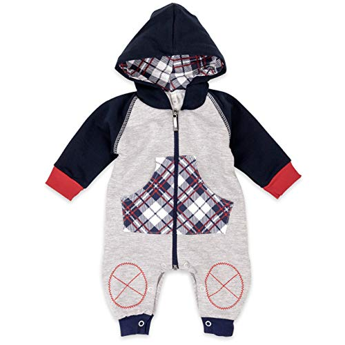 Baby Sweets Babystrampler Jungen mit Karo Motiv/Overall mit Kapuze für Neugeborene & Kleinkinder | Größe: 9 Monate (74) … - Monate Overall 9