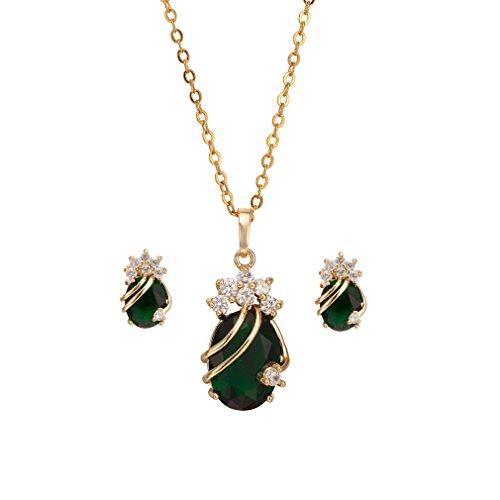 Gold überzog Grün-Charme-Ketten-Anhänger-Halsketten -Bolzen-Schmuck-Set für Hochzeit (Orientalische Hochzeit)