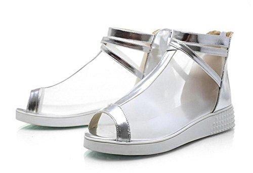 Femmes Pumps Net Yarn Peep Toe Sandales High Heel Rome Chaussures Sandales Outdoor Court Chaussures Silver