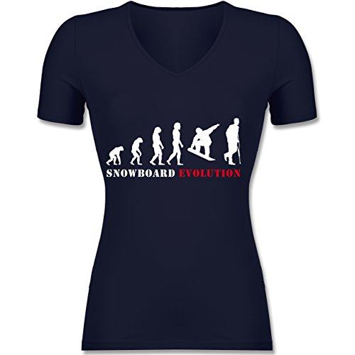 Evolution - Snowboard Evolution - Tailliertes T-Shirt mit V-Ausschnitt für Frauen Dunkelblau