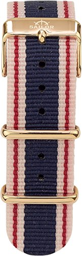 Sailor Damen Herren Nylon Armband Gambi blau-weiß-rot BSL101-2009-20, Breite Armband:20mm (normal),