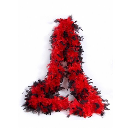Federboa / Federschal Deluxe schwarz / rot - Feder Boa für 20er Jahre Party, Karneval, Fasching, Charleston , Varieté - ca. 200 cm lang - ca . 100 gr.