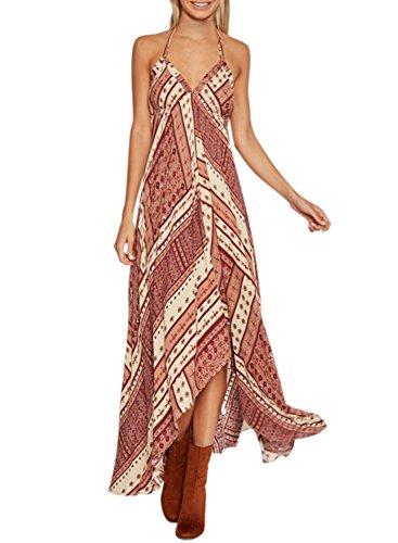 Azbro Women's V Neck Sleeveless Boho Irregular Dress red
