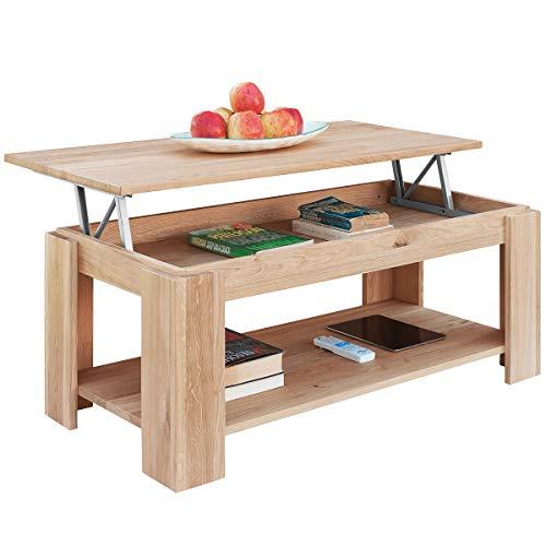 Comifort tavolo da salotto salon oralia con portariviste integrato di rovere massiccio 100x 50x 43/55cm moderno quercia dorato