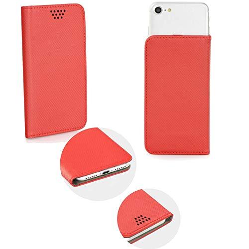 Supercase24 HomTom HT5 Book Case Klapp Cover Schutzhülle Etui Handytasche Flip mit Smart Magnet in rot