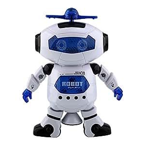 Peradix Robot Mignon Belle Rotation 360 Degrés Smart Space Electrique Dancing Walking Musique Lumière Bébé Enfants Cadeau Jouet