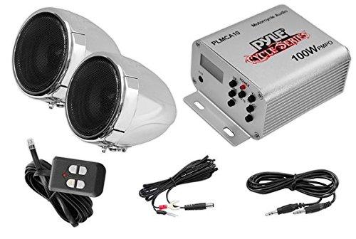 Pyle 100 Watt Wetterfeste Lautsprecher und Verstärker mit zwei 3-Zoll-Lautsprecher, AUX(3,5 mm)