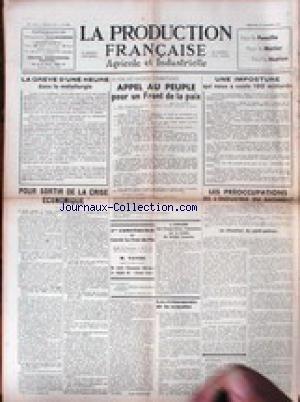 PRODUCTION FRANCAISE (LA) [No 468] du 21/11/1937 - LA GREVE D'UNE HEURE DANS LA METALLURGIE - APPEL AU PEUPLE POUR UN FRONT DE LA PAIX - L'INDSUTRIE DU BATIMENT. par Collectif