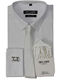 62663dd253d Mens Classic Cotton Slim Fit Shirt Tie Hanky Cufflinks 3 Piece Gift Set Smart  Casual Formal
