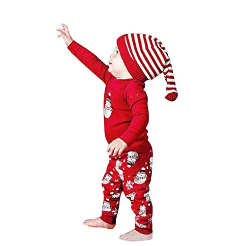 BURFLY Kinderkleidung ♥Boy's Cute Christmas Schneemann Print Langarm T-Shirt + Hosen (nicht enthalten Hut) (100, Rot) (Katze In Den Hut Partei Ideen)
