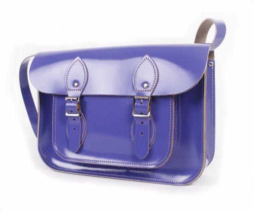 Leather Satchel's , Damen Satchel-Tasche Patent Purple (Handtasche Patent Satchel)