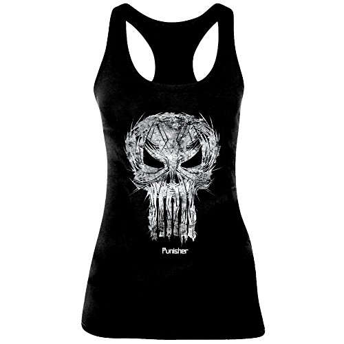 The Punisher Skull Sketch Girl-Top schwarz M