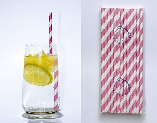 Funky Planet Papierstrohe 100 Stück Partydekorationen umweltfreundliche biologisch abbaubare Trinkhalme VIELE DESIGNS (Stripes Pink)