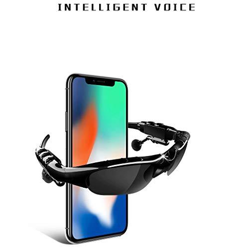 Jamicy® Bluetooth 5.0 Sonnenbrille mit Eingebautem Kabellosem Kopfhörer, Stereo Ohrhörer Hände Frei Musik MP3 Player Telefon Anruf für Radfahren, Fahren, Outdoor, Reisen (Schwarz)