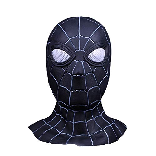 ider-Man Maske Cosplay Maskerade Helm Halloween Maske Erwachsener Spider-Man: Far from Home Maske, Spiderman Hood Helm Comics Hero Kopfbedeckung Kostüm,Black-0cm~60cm ()