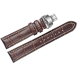 23mm Brown Luxury Replacement Leather Watch Straps/Bands Handmade with White Contrast Stitching for High-end Watches