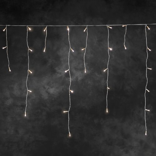 Konstsmide 2733-102 LED Eisregen Lichtervorhang / für Außen (IP44) /  24V Außentrafo / 200 warm weiße Dioden / weißes Kabel