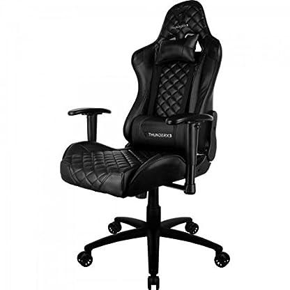 ThunderX3 TGC12BK- Silla gaming profesional- (Estilo Racing, Cuero sintético, Inclinación y altura regulables, apoyabrazos, reposacabezas, cojín lumbar) Color Negro