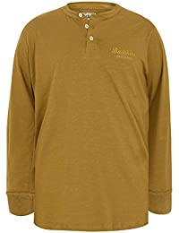 YoursClothing Mens Badrhino Mustard Long Sleeved Henley Top - Tall