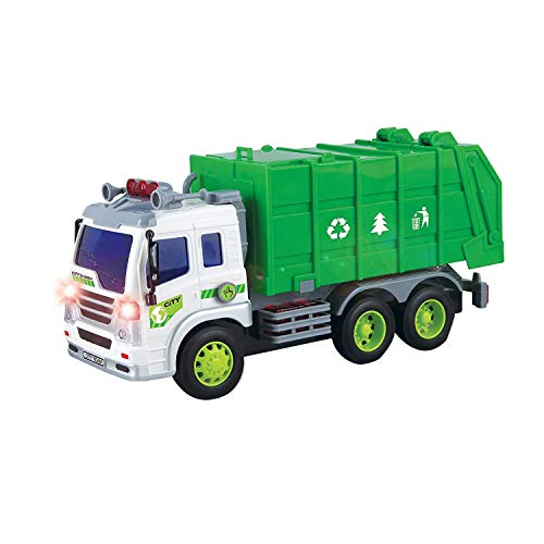 SODIAL Friction Powered Sanitation Garbage Truck Toy Vehicle 1:16,With Lights and Sounds,A Great Gift for Children