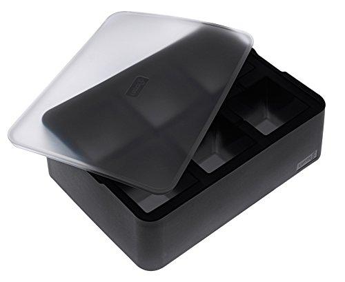 Lurch Ice Former Premium Eisbereiter aus Silikon mit Deckel für sechs Eiswürfel in der Größe 5cm, Schwarz, 6.5 x 15.5 x 20.5 cm