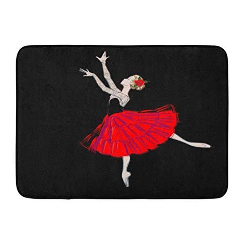 Clevere Mädchen Kostüm - Badematte das Porträt der Ballerina im Hauch-Rock-Kostüm und im klassischen Ballett-Tänzer-Mädchen-Ballettröckchen-Kleid-Badezimmer-Dekor-Teppich der roten Rose
