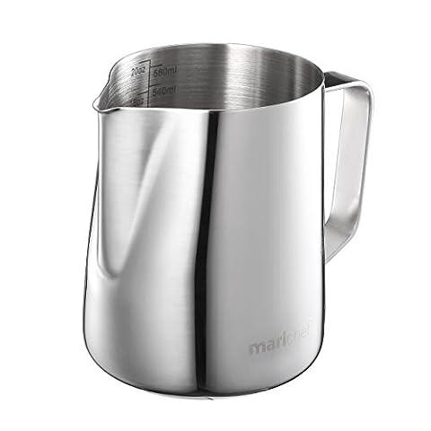 Mari Chef Milchkrug / Aufschäumbehälter / Messbecher mit Markierungen innen, Edelstahl, 600 ml