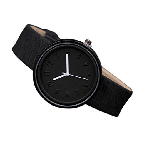 Herren Armbanduhren Damen Kinder Armbandunr Unisex Simple Fashion Number Uhren Quarz Leinwand Gürtel Canvas Armbanduhr Sunday (24cm, Schwarz)