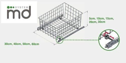 REJS Pull Out Korb Schublade Schrank MD Accessoires de Montage–Breite: 600mm (150mm Grau, Höhe)