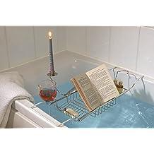 Safield - Vassoio per vasca bagno con supporto per bicchiere, portacandela e leggio
