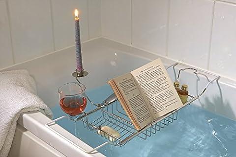 Bathroom Bath Tub Caddy with Wine, Candle & Book