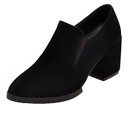 VogueZone009 Femme Tire à Talon Correct Couleurs Mélangées Pointu Chaussures Légeres Noir