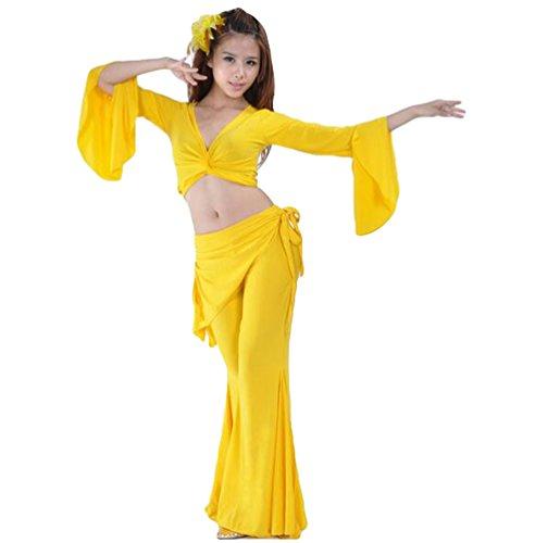 ZhiYuanAN 2Pcs Manches Trompette Tops & Tribal Pantalon Set Costume Danse Du Ventre Jaune