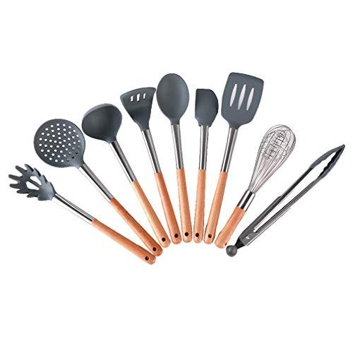 Küchenhelfer Set 8 Stück Eiche Hohe Temperaturbeständigkeit Edelstahl Startseite Backen Kochen Werkzeuge Kochgeschirr