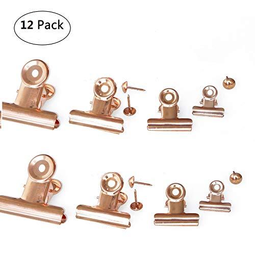 EisEyen 12 Stück Bulldog Scharnier Clips mit Pins Rose Gold für Cork Bulletin Boards und Foto Wände 25mm